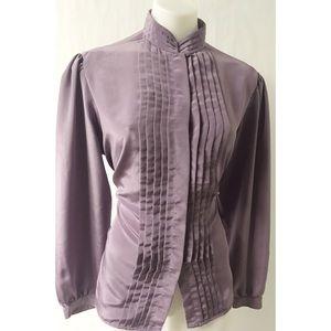 Purple Pleated Vintage Top Size 14